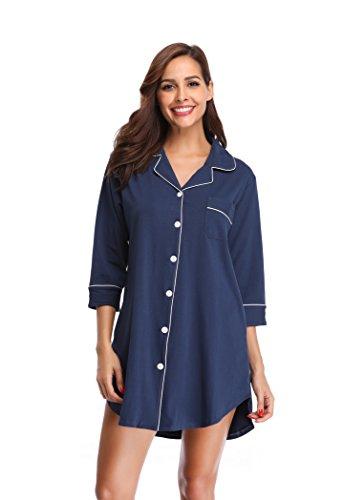 Shekini camicie da notte in cotton con chiusura a bottone pigiami camicia donna(s, blu scuro)
