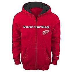 NHL Detroit Red Wings 8-20 Youth Sportsman Full Zip Fleece Hoodie, Detroit Red Wings, X-Large