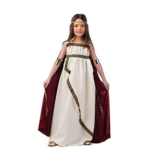 Römische Prinzessin Römerin Kinder Kostüm creme rot Kleid mit Umhang und Stirnreif - 7/9 (Römische Halloween Prinzessin Kostüm)