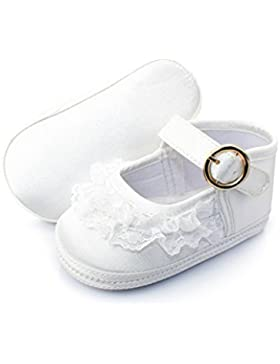 Hongfei Zapatos de niña con decoración de encaje Suela suave hebilla dorada velcro