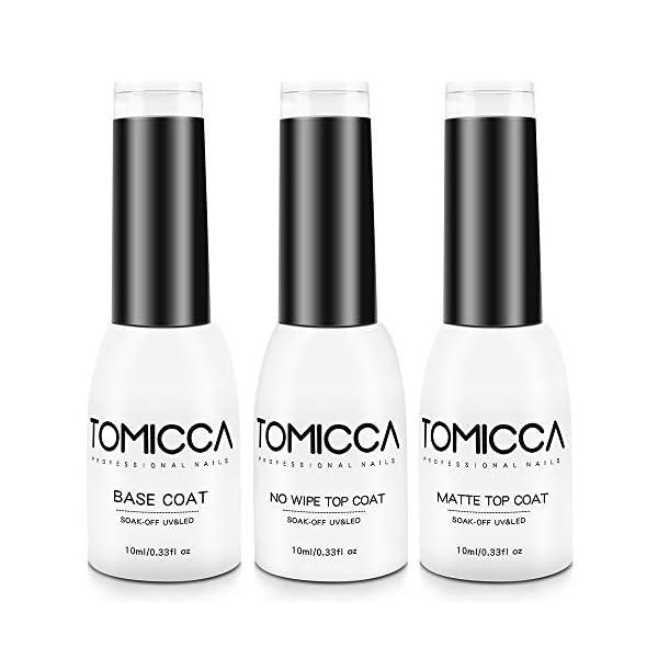 TOMICCA No Wipe Top Coat y Base Coat Mate Top 3 * 10ml Esmalte Semipermanente De Uñas Soak Off UV LEDLampara Uñas De Gel…