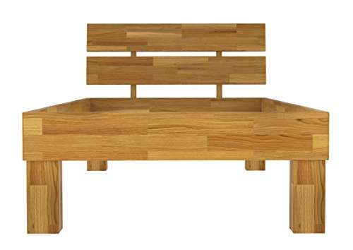 Erst-Holz® Einzelbett 90x200 Bett ohne Rollrost Futonbett Singlebett Massivholzbett Eiche Natur 60.88-09 oR