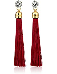 Joyeriam Gold Plated Crystal Long Tassel Draping Extra Long Shoulder Duster Earrings For Women And Girls