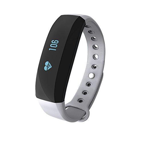 Fitness armband ,LESHP Herzfrequenz Messgerät Activity Tracker Armband Schrittzähler Kabellose Bluetooth Schritte Entfernung Sleep Kalorien ausgeschnittenem Touch Bildschirm Call Nachricht Reminder für Android und IOS (Grau)
