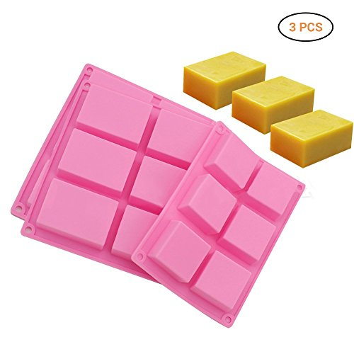 Surenhap Seifenform 6 Hohlräume Rechteck Soap Form Chocolate Mold, Soap Mold, Bakeware Lollipop Form Decorating Tools (3 Stücke) -