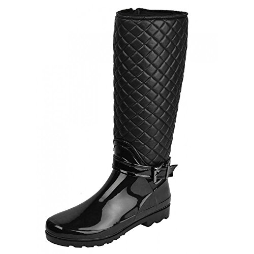Kick Footwear - Ladies knee high fur lined quilted zip up wellington boots
