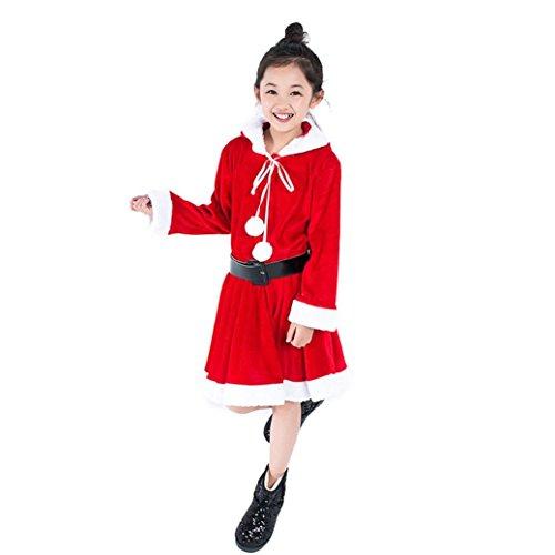 VENMO Weihnachten Streifen Rot Mädchen Netted Puffs Kleid Dress Muster Langarm Casual Party Niedlich Lässig Täglich Kleinkind Weihnachts Cosplay Kapuzen Kleid mit Gürtel Outfit Kostüm (4T, Red) - 4t Jacke Jungen Leder