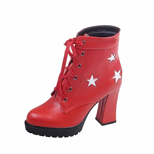 VogueZone009 Donna Bassa Altezza Colore Assortito Allacciare Tacco Alto Stivali Rosso