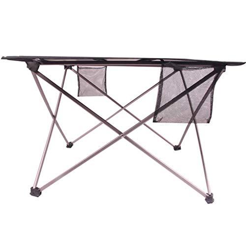 NJ Table Pliante- Tableau Se Pliant extérieur de Tissu d'Oxford, Tableau en Aluminium de Barbecue de Plage de Voyage (Couleur : Noir, Taille : 67x48x36cm)