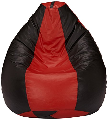 Solimo XXXL Bean Bag Cover without Beans (Red and Black)