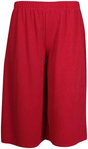 Damen Shorts Mini Culottes Hose - Übergrössen - EU 40 / 42, Rot (Culotte Damen Shorts)