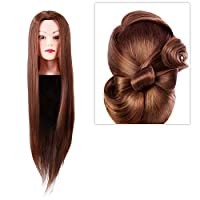 Training Head,Synthetic Fiber Mannequin Head Hairdresser Training Head Cosmetology Doll Head