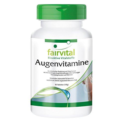 Augenvitamine, Multivitamin mit Ginkgo, Lutein und vielen anderen Vitalstoffen, speziell für die Augen entwickelt, 60 Tabletten, 2-Monatsversorgung - unterstützt die Augen und eine gute Durchblutung