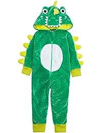 OneZee Boys Super Soft Fleece Crocodile Hooded All in One