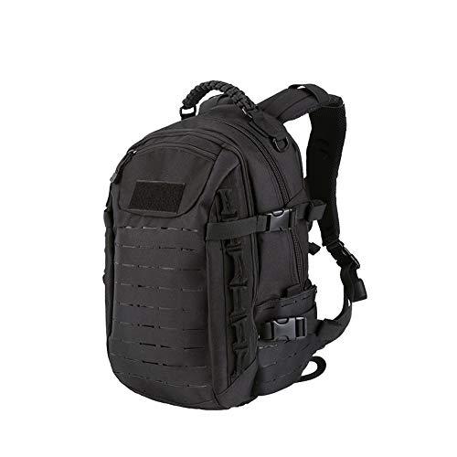 Poooooi Militärrucksack Tactical Airsoft Mountaineering Bag 25L Wasserdicht, Kratzfest, Tragbar, Winddicht Für Männer Und Frauen,Schwarz