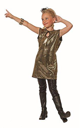 Kinder Kostüm Disco Pailletten Kleid Gold Karneval Fasching Gr.152