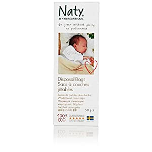 Naty by Nature Babycare Eco Disposal Nappy Bags - 3 x Packs of 50 (Total 150 Disposal Bags)