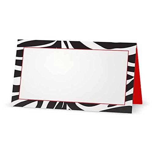 Karten-Zelt Stil-10Oder 50Pack-Weiß Blanko Vorne mit Rot Line Bordüre und Rot Innen-Placement Tisch Name Platz Stationery Party Supplies Jeden Anlass Schwarz/Rot/Weiß ()