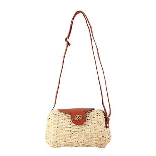 Kentop Stroh Crossbody Tasche Damen Umhängetasche Rattan Weben Strand Strohtasche, Schultergurt verstellbar (Beige)