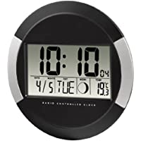 "Horloge murale ""PP-245"" radio-pilotée DCF, Noir"