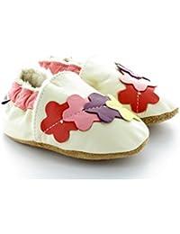 Chaussons Bébé Fourrés en Cuir Souple Farandole de Fleurs Blanc