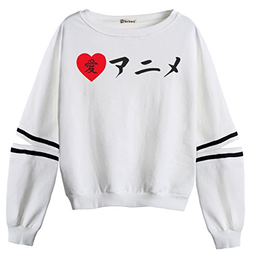 So'each Women's Japanese Love Letters Stripes Casual Sweater Pullover Sweatshirt (Tiger Stripe Mantel Baumwolle)