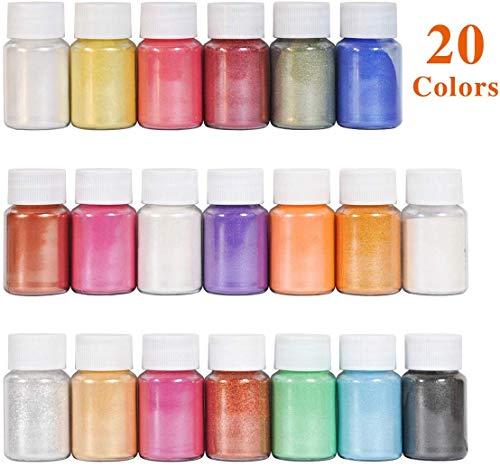 Dewel 200g Naturale Pigmenti Coloranti Mica Powder 10g*20 Colori Mica Polvere Colorante Polveri Perlato per DIYSapone SlimeCandele Acquerello