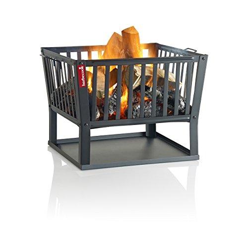 Barbecook Feuerkorb für Holzfeuer eckig lackierter Stahl lang 62-cm breit und 48.5 cm hoch, schwarz