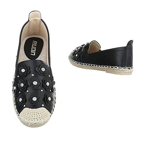 Pantofola Da Donna Low-top Block Tacco Strass Tempestato Di Ital-design Con Tacco Basso Nero