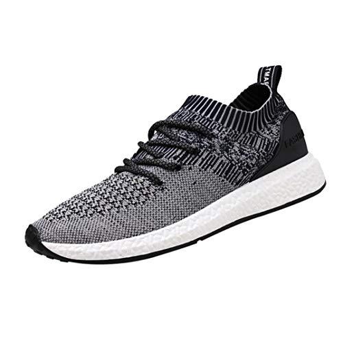 。◕‿◕。 Meilleure Vente! LuckyGirls Mode Hommes Sneakers Respirantes Chaussures de Course à Pied Homme Spective Chaussure de Sports Lacets Mesh Fitness Gym Running Baskets 39-46