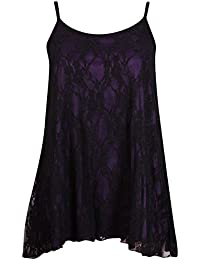 Womens Plus Size Floral Lined Lace Ladies Sleeveless Swing Flared Camisole Strappy Vest Top Dress