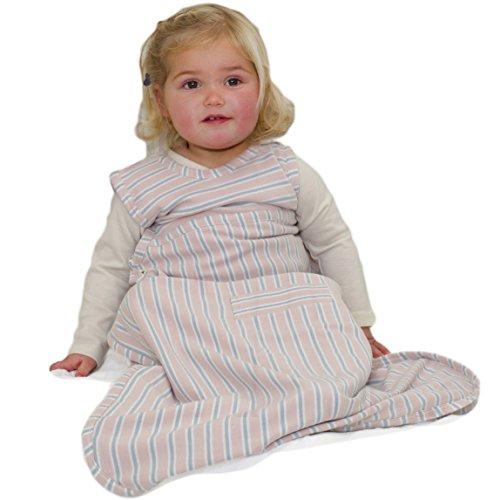 Merino Kids Baby Sleep Bag, Schlafsack für Babys 0-2 Jahren, Hell-Rosa/Hellgrau Streifen