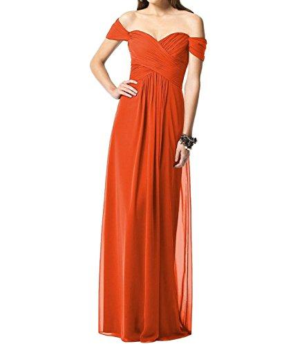 Leader der Schönheit Frauen Cap Sleeve lang Chiffon Brautjungfer Party  Gewand Orange
