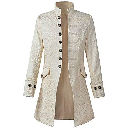 Plot Herren Vintage Frack Steampunk Gothic Jacke Viktorianischen Langer Mantel Fasching Karneval Cosplay Kostüm Smoking Jacke Uniform Abendkleid (Weiß, XXXL) (Weiss Schnee Cosplay Kostüm)