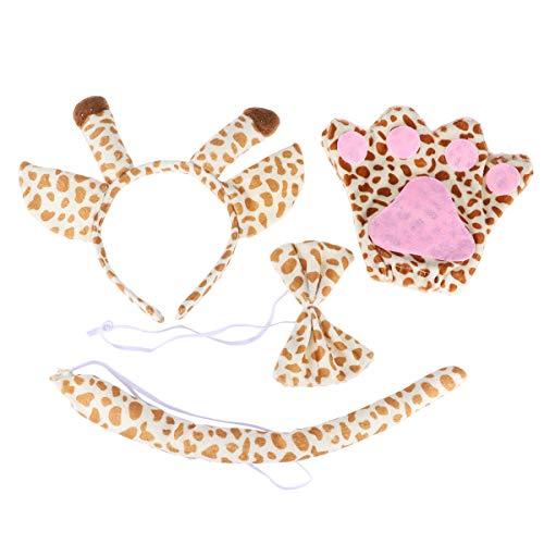 Amosfun Giraffe Kostüm Kit Tier Stirnband Bowtie Handschuhe Schwanz Outfit für Cosplay Kostüm Party 5 Stücke - Giraffe Kostüm Kit