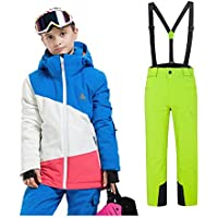 LPATTERN 2 Piezas Traje de Esquí para Niños Niñas Traje de Nieve Grueso Impermeable para Deportes Invierno, Niña-Azul+Verde, 160/12-14 años