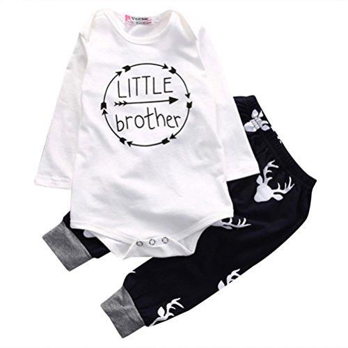 Hirolan Neugeboren Baby Junge Brief Drucken Spielanzug Tops + Hosen Outfits Anzug (90cm, (Baseball Infant Kostüme)