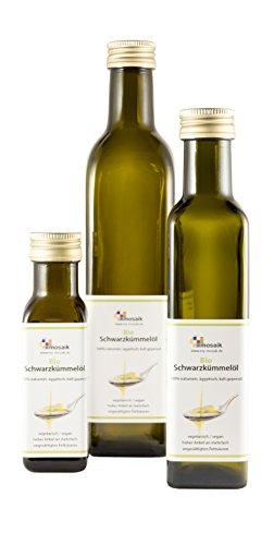 my-mosaik Bio Schwarzkümmelöl 100% naturrein, kaltgepresst, ägyptisch reich an mehrfach ungesättigten Fettsäuren für die gesunde Küche oder zur Hautpflege einsetzbar