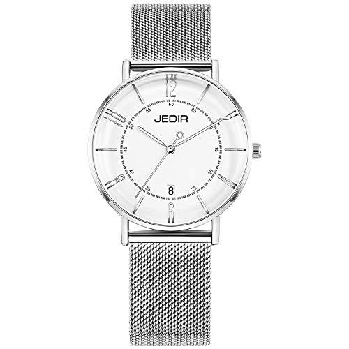 JEDIR Damen Uhren Ultra Thin Quartz Armbanduhr Große Silber Analog Dial Kalender Fenster mit Silber Edelstahl Mesh Band