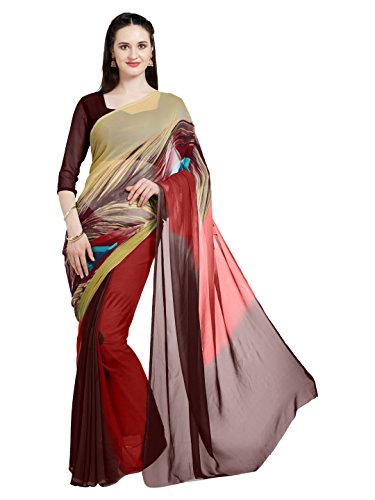 Mirchi Fashion Damen Faux Georgette Digital Bedruckt Party Wear Saree (5882_Rot) Faux Georgette Saree