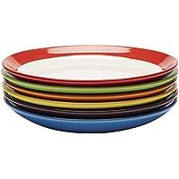 Amethya Grandes Assiettes à dîner en céramique Haute qualité, grès à Repas coloré, Lot de 6 Articles, 28cm