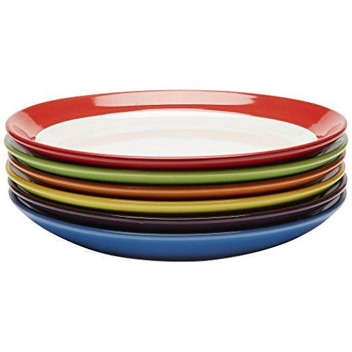 Piatti da Pasto Premium in Ceramica, Servizio di Piatti,Grandi Colorati in Gres Alimentare, 28 centimetri Set da 6
