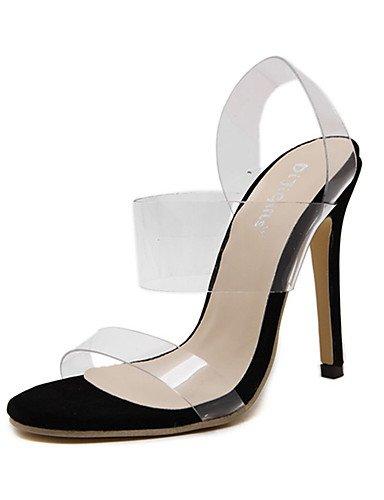 WSS 2016 Chaussures Femme-Décontracté-Noir-Talon Aiguille-Talons-Chaussures à Talons-Polyuréthane black-us8 / eu39 / uk6 / cn39