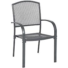 greemotion Stapelstuhl Toulouse eisengrau, Stuhl mit kunststoffummanteltem Stahl, platzsparend stapelbarer Gartenstuhl, wetterfest und pflegeleicht