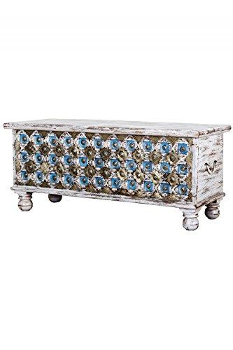 Orientalische Truhe Kiste aus Holz Burhan - 3 - 116cm   Vintage Sitzbank mit Aufbewahrung für den...