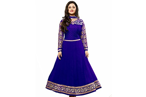 Stutti Fashion Womens Georgette Embroidered Blue Color Semi Stitched Dress Material