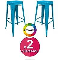 regalosMiguel - Pack 2 Taburetes Industriales Torix envejecidos Azules (Inspirado en la Línea Tolix)