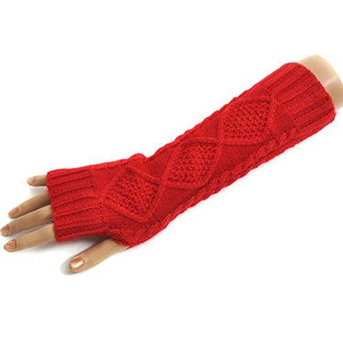 TININNA Autunno e Inverno Caldi elastico Guanti di lana a maglia Guanti senza dita lunghi Guanti Manicotti Guanti per le Donne ragazze Rosso