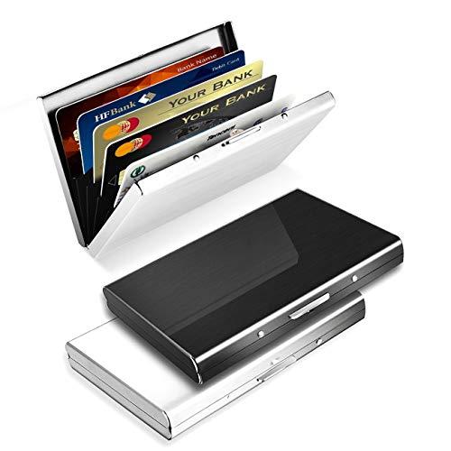 ZOYJITU cajas para tarjetas de visita - ¡Protege tus tarjetas de crédito con esta sofisticada billetera portatarjeras metálica, impermeable y con protección anticlonación para hombre y mujer. Ventaja: Muy pequeño y fácil de llevar, diseño de moda y h...