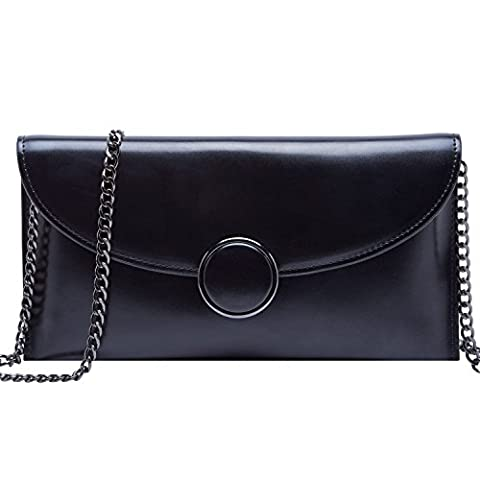 BOYATU Genuine Leather Wallet for Women Chain Strap Shoulder Purse Fashion Ladies Clutch Bag(Black)